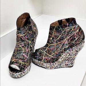 Jeffery Campbell splash color platform sandals